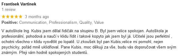 hodnoceni autoskola kubis4 Autoškola Brno Ing.Kubis
